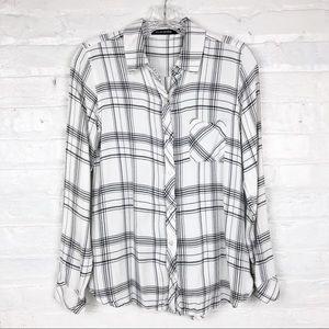Dylan George Soft Plaid Button Down Shirt Medium